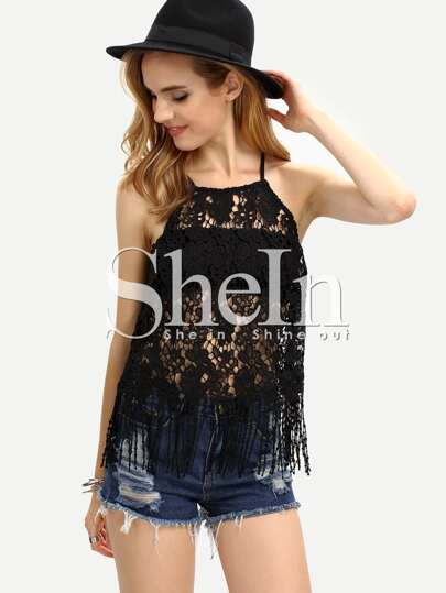 Slit Back Fringe Lace Cami Top - Black