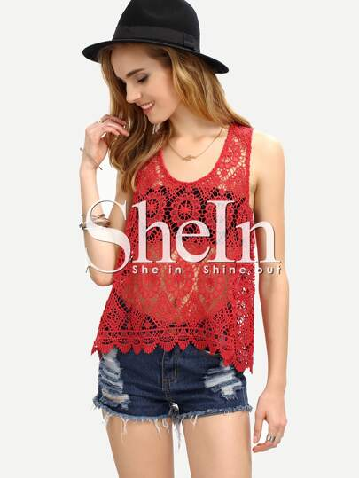 Scalloped Hem Slit Back Lace Tank Top