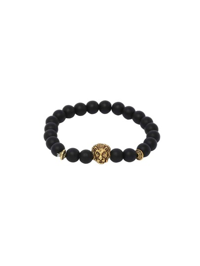 Obsidian With Gold Lionhead Polished Bracelet