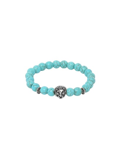 Turquoise With Silver Lionhead Polished Bracelet