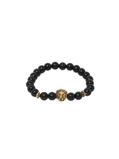 Obsidian With Gold Lionhead Shined Bracelet