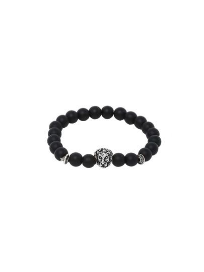 Bracelet à obsidiennes motif tête de lion argenté