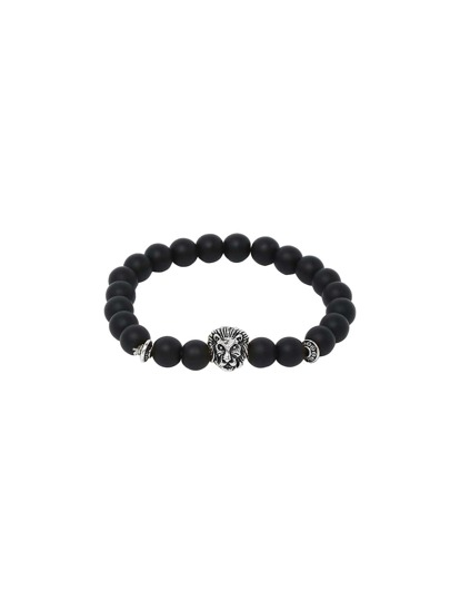 Obsidian With Silver Lionhead Polished Bracelet