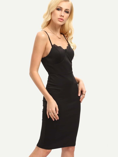 Black Spaghetti Strap Sheath Dress