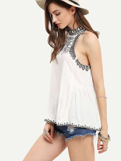 White Embroidered Hollow Back Tank Top