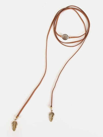 Leaf & Western Frame Bolo Necklace TAN