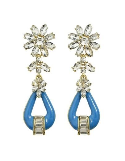Blue Rhinestone Drop Stone Earrings