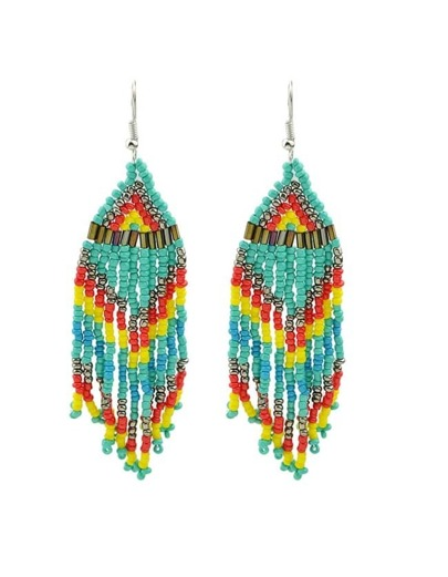 Blue Beads Chain Earrings