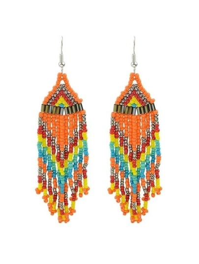 Orange Beads Chain Earrings