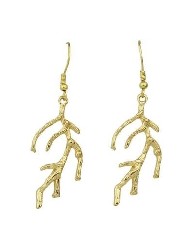 Branch Shape Long Drop Earrings