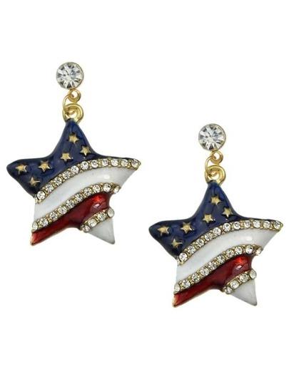Enamel Rhinestone Star Shape Earrings