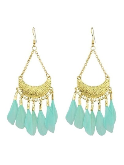 Green Feather Big Chandelier Earrings