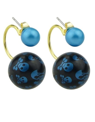 Blue Pearl Stud Double Ball Earrings