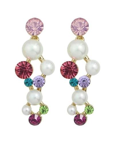 Rhinestone Pearl Hanging Stud Earrings