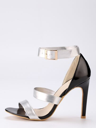 Faux Patent Leather Strappy Sandals - Silver