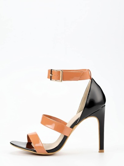 Faux Patent Leather Strappy Sandals - Apricot