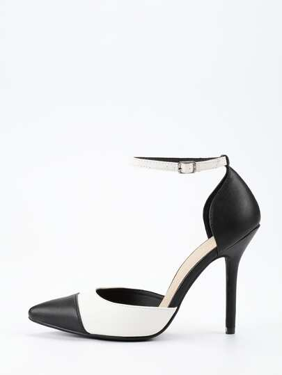 Black & White Ankle Strap D'orsay Pumps