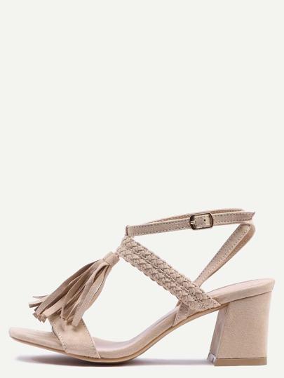 Braided Tassel Trimmed Sandals - Camel
