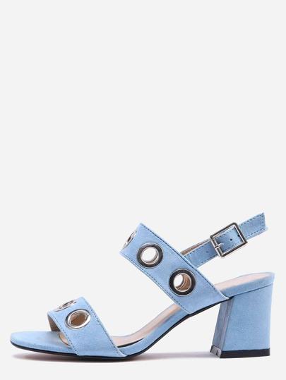 Metal Eyelet Strap Sandals - Blue