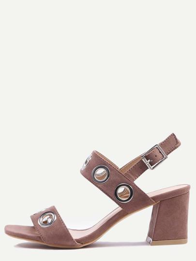 Metal Eyelet Strap Sandals - Dark Brown