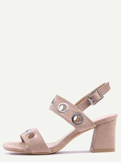 Metal Eyelet Strap Sandals - Camel