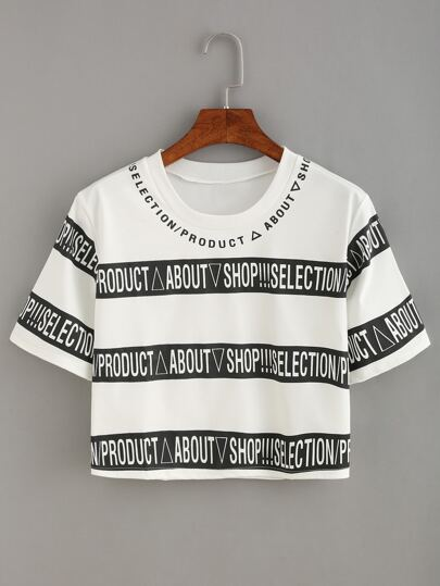 Wide Stripe Letter Print Crop T-shirt