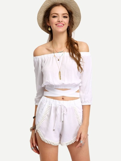 Off-The-Shoulder Crop Top With Shorts