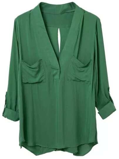Green Pockets Cross Back Long Sleeve Blouse