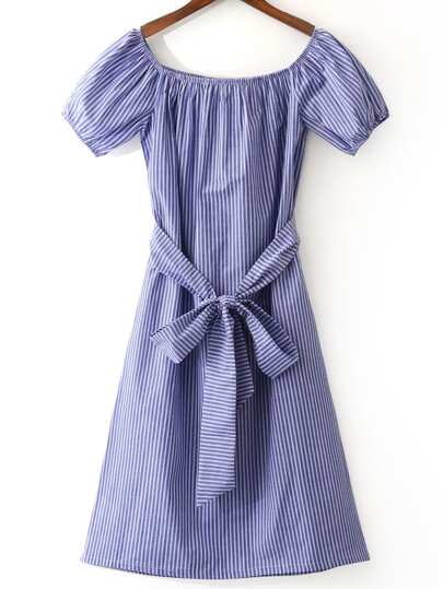 Blue White Stripe Tie-Waist Bow Boat Neck Dress