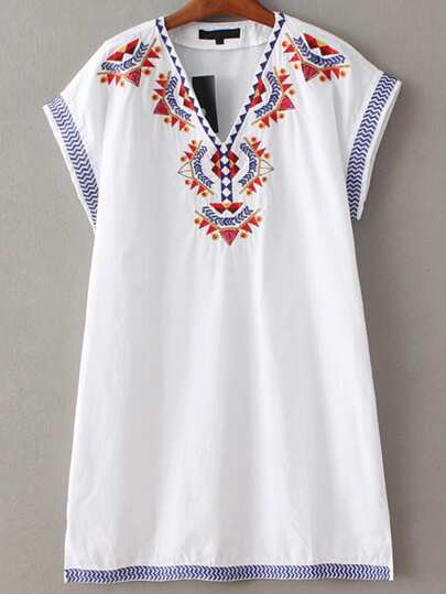 White V Neck Sleeveless Embroidery Dress