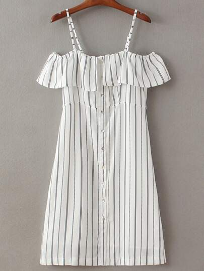 Black White Stripe Buttons Front Spaghetti Strap Dress