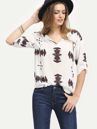 White Print Three Quarter Sleeve Tie Blouse