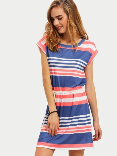 Multicolor Striped Cap Sleeve Tie Waist Dress