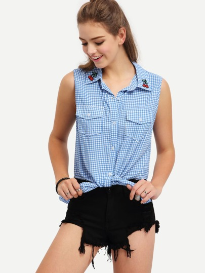 Light Blue Sleeveless Plaid Embroidered Blouse