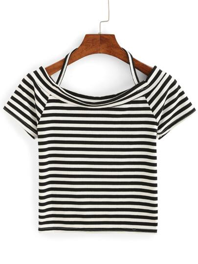 Striped Halter Neck Crop T-shirt