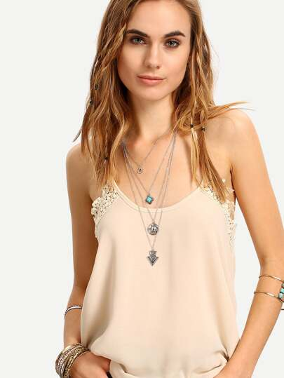 Layered Geometric-Shaped Pendant Necklace