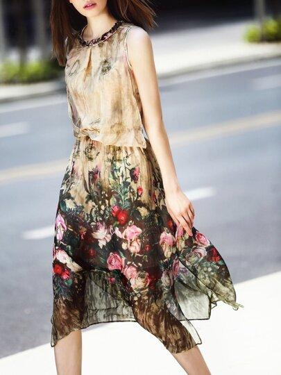 Robe motif rose taille élastique sans manche