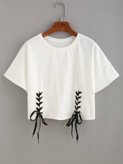 Double Grommet Lace Up Crop Top