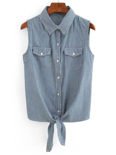 Vertical Striped Tie-Front Sleeveless Blouse - Blue