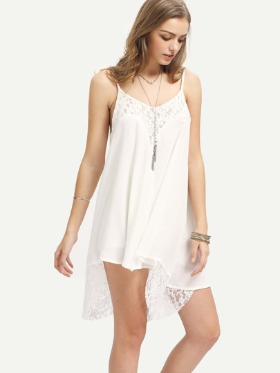 Lace Insert Asymmetric Cami Dress