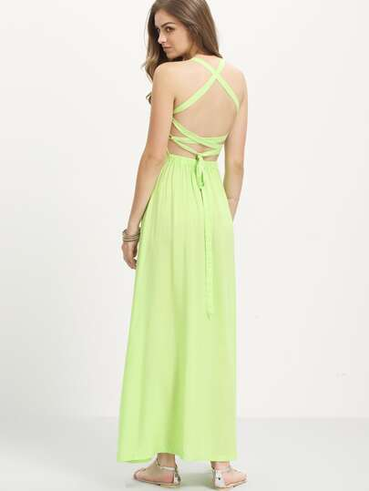 Halter Neck Lace-Up Maxi Dress