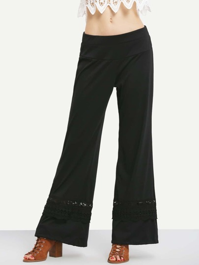 Crochet Insert Wide Leg Pants