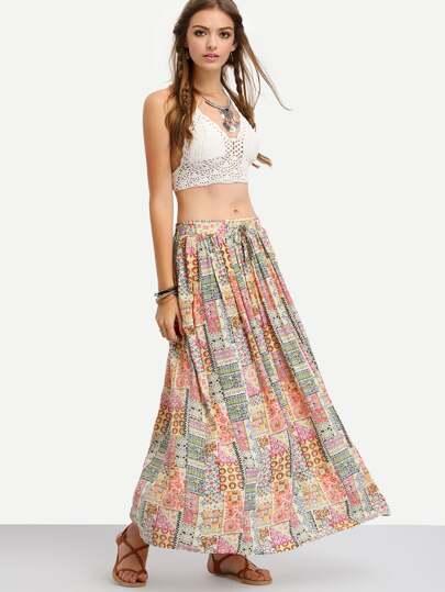 Multicolor Tribal Print Maxi Skirt