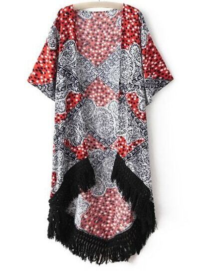 Multicolor Print Short Sleeve Swallowtail Fringe Cardigan Kimono