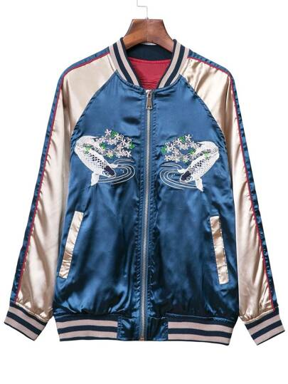 Blue Pockets Zipper Front Fishes Embroidery Jacket