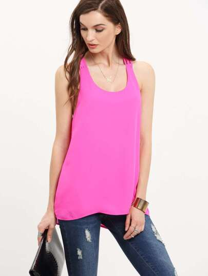 Hop Pink Cut Away Back Zipper Tank Top