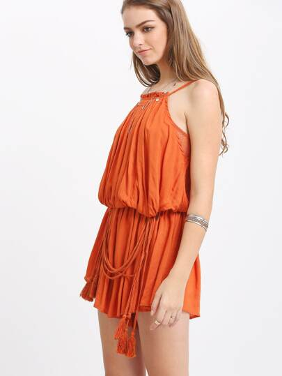 Orange Sleeveless Pleated Tassel Jumpsuit
