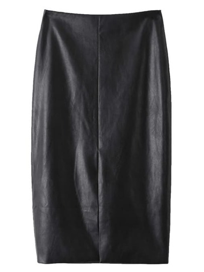 Black Split Front Zipper Back PU Pencil Skirt