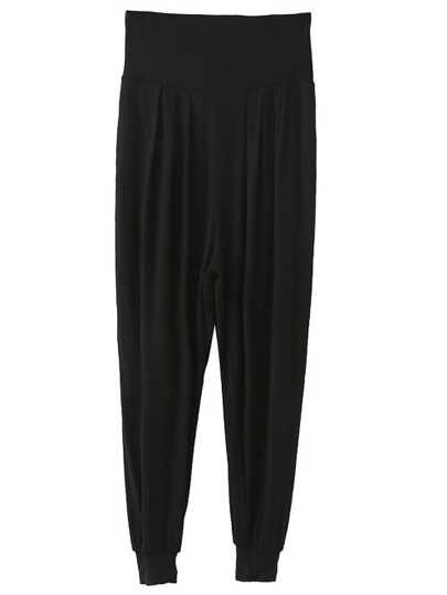 Black High Waist Knit Harem Pants