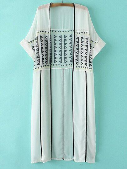 Multicolor Short Sleeve Print Cardigan Kimono